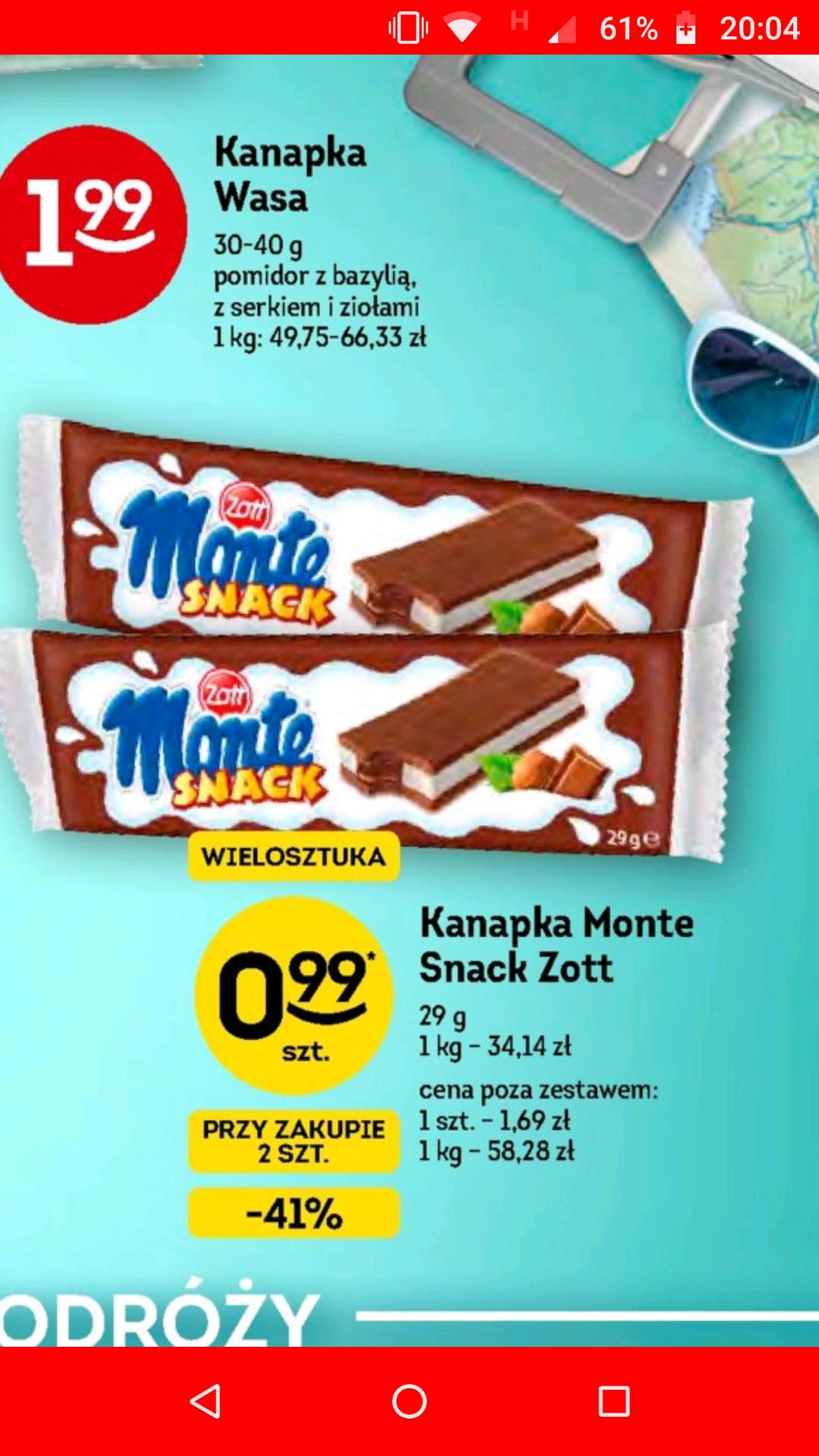 Mleczna kanapka Monte Snack w Żabce