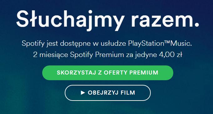 2 miesiące Premium za 4,00zł @ Spotify + PSN