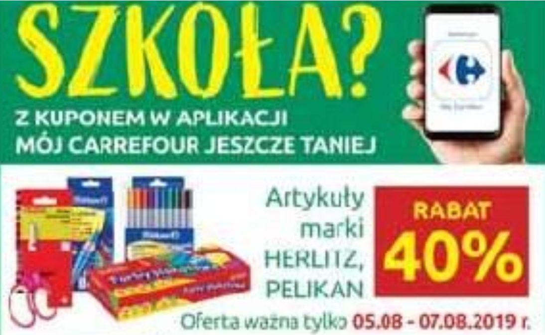 -40% na artykuły szkolne marki Herlitz i Pelikan z aplikacją @ Carrefour