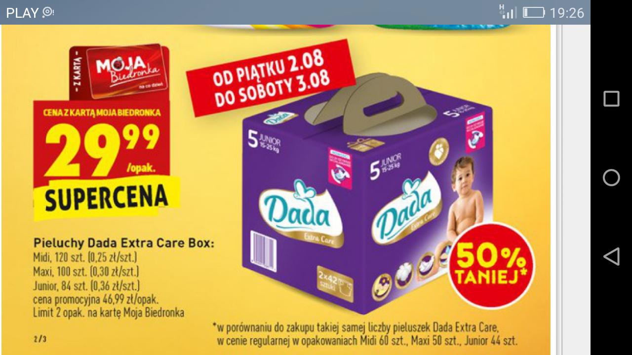 Pieluchy DADA box 120 / 100 / 84 sztuk za 29,99 biedra.
