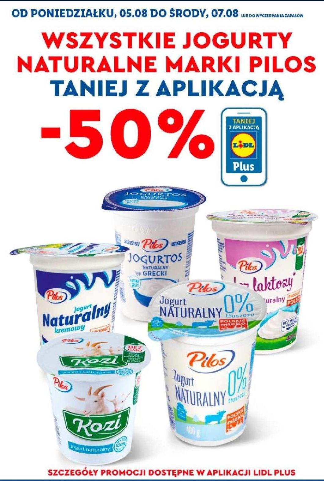 Jogurty naturalne Pilos -50% Aplikacja Lidl