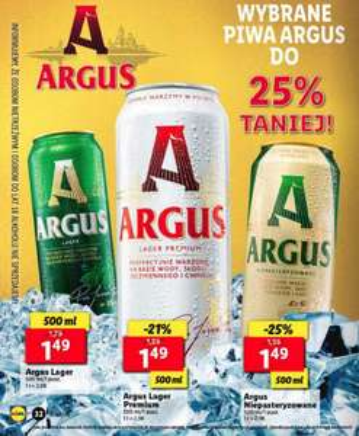 Wybrane piwa Argus -25% taniej @Lidl