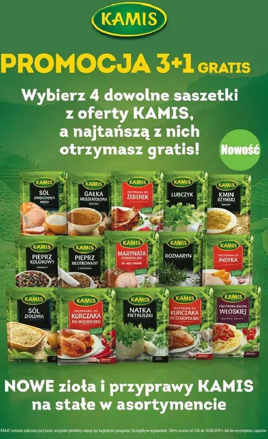 3+1 gratis: kup 4 dowolne saszetki przypraw lub ziół Kamis, a najtańsza wyjdzie gratis @ Biedronka