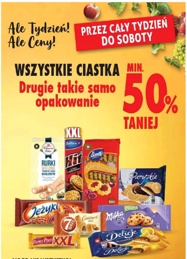 Wszystkie ciastka minimum 50% taniej - drugie opakowanie @Biedronka