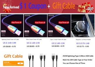 Taniej z kuponem kabelki lub uchwyt magnetyczny od USAMS z kuponem + krótki kabel gratis (3,49$)