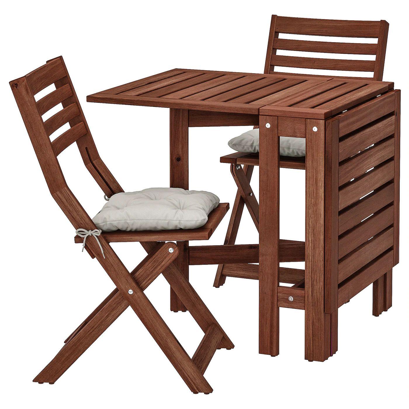 IKEA - Stół+2 składane krzesła, na zewątrz, brązowa bejca, Kuddarna szary