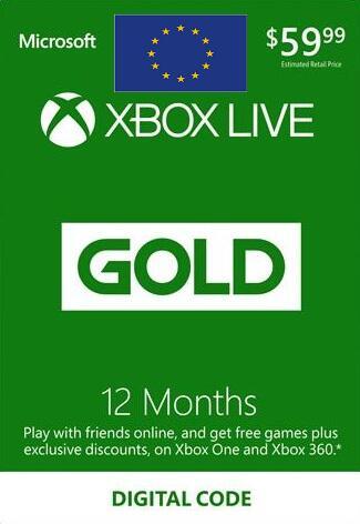 XBOX Live 12-miesięczna złota karta członkowska EUROPA
