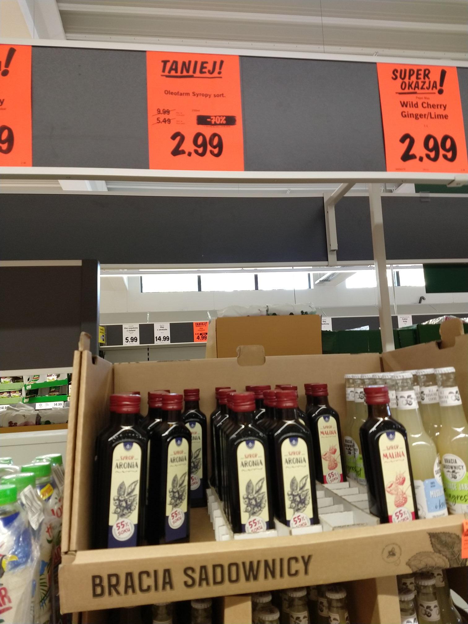 Syrop malina, aronia lub żurawina Oleofarm 55 % soku 250 ml Lidl