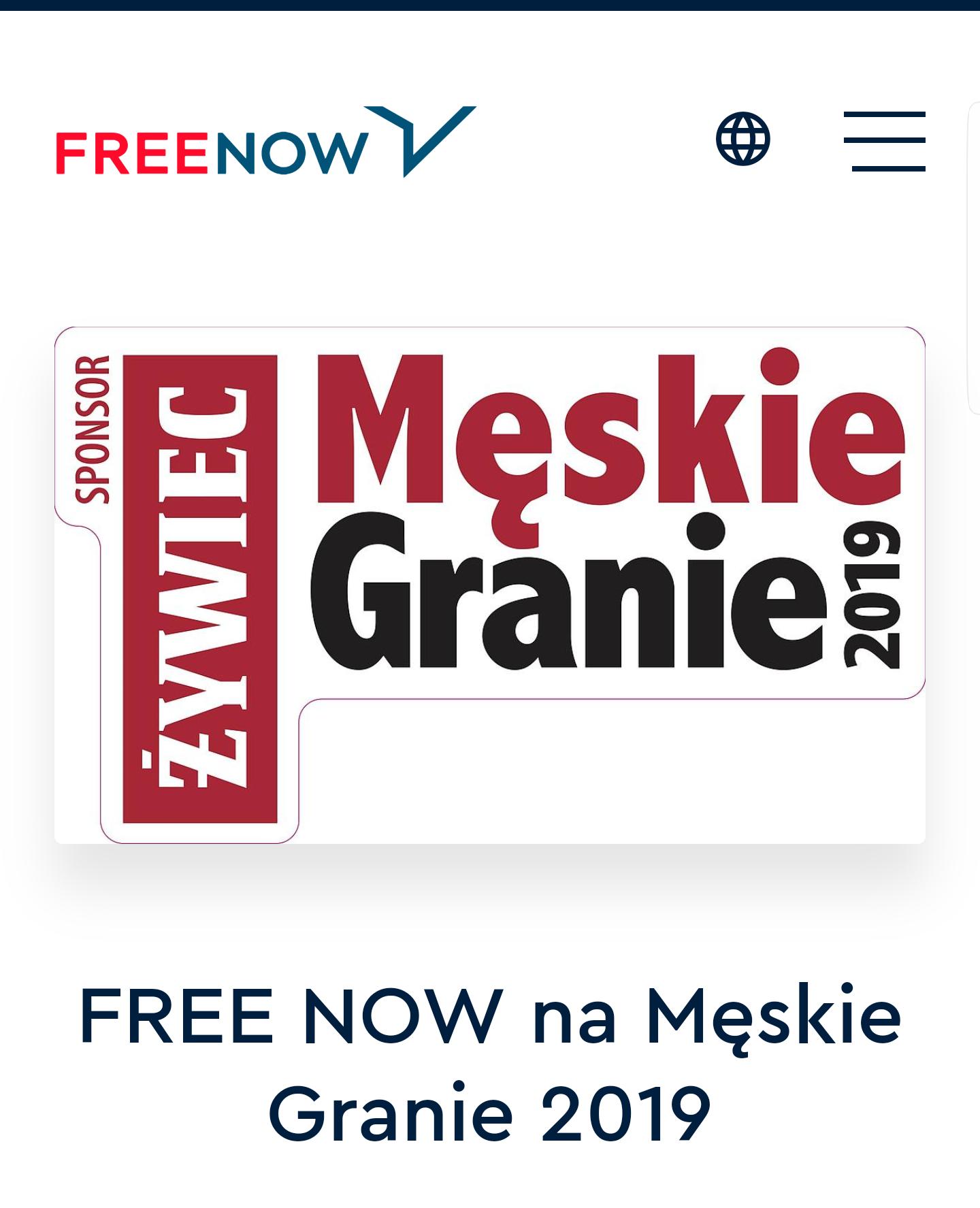 Promocje Free Now na przejazdy w dniu koncertów Męskie Granie 2019