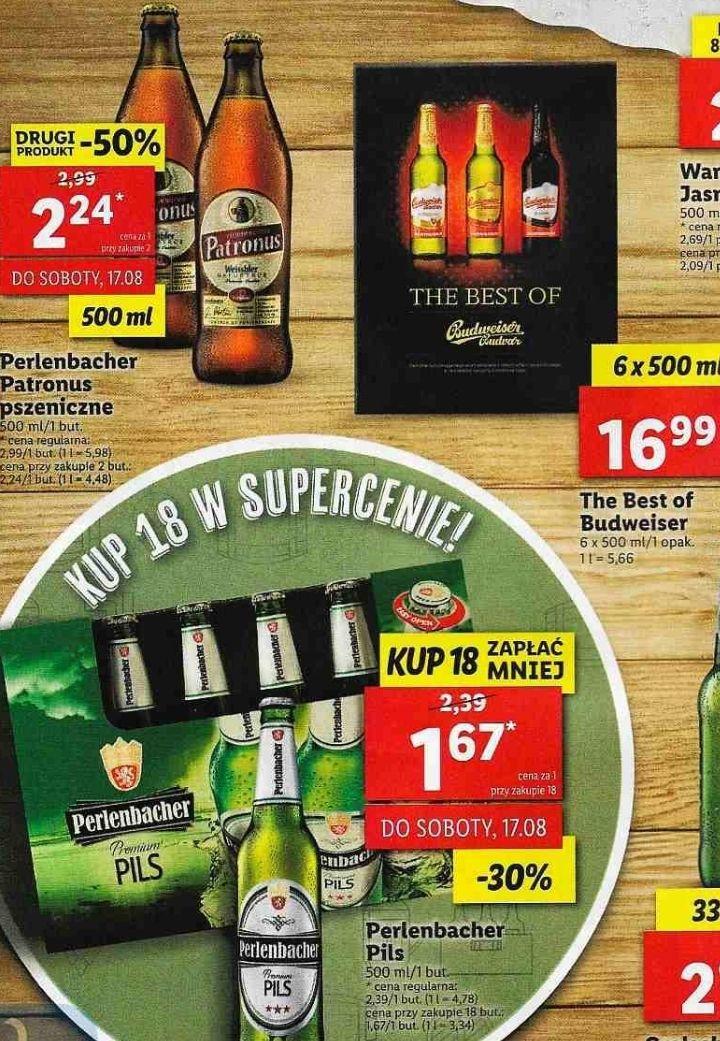 Piwa: 18x Perlenbacher: Pils (1,67zł za 1), 2x Patronus (2,24zł za 1) i 6x The Best Of Budweiser (16,99zł) @ Lidl
