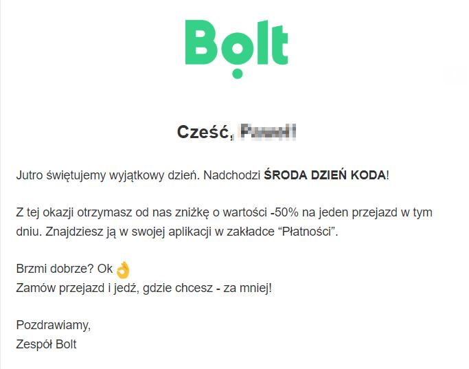 Bolt - Środa dzień koda (-50% na przejazd)