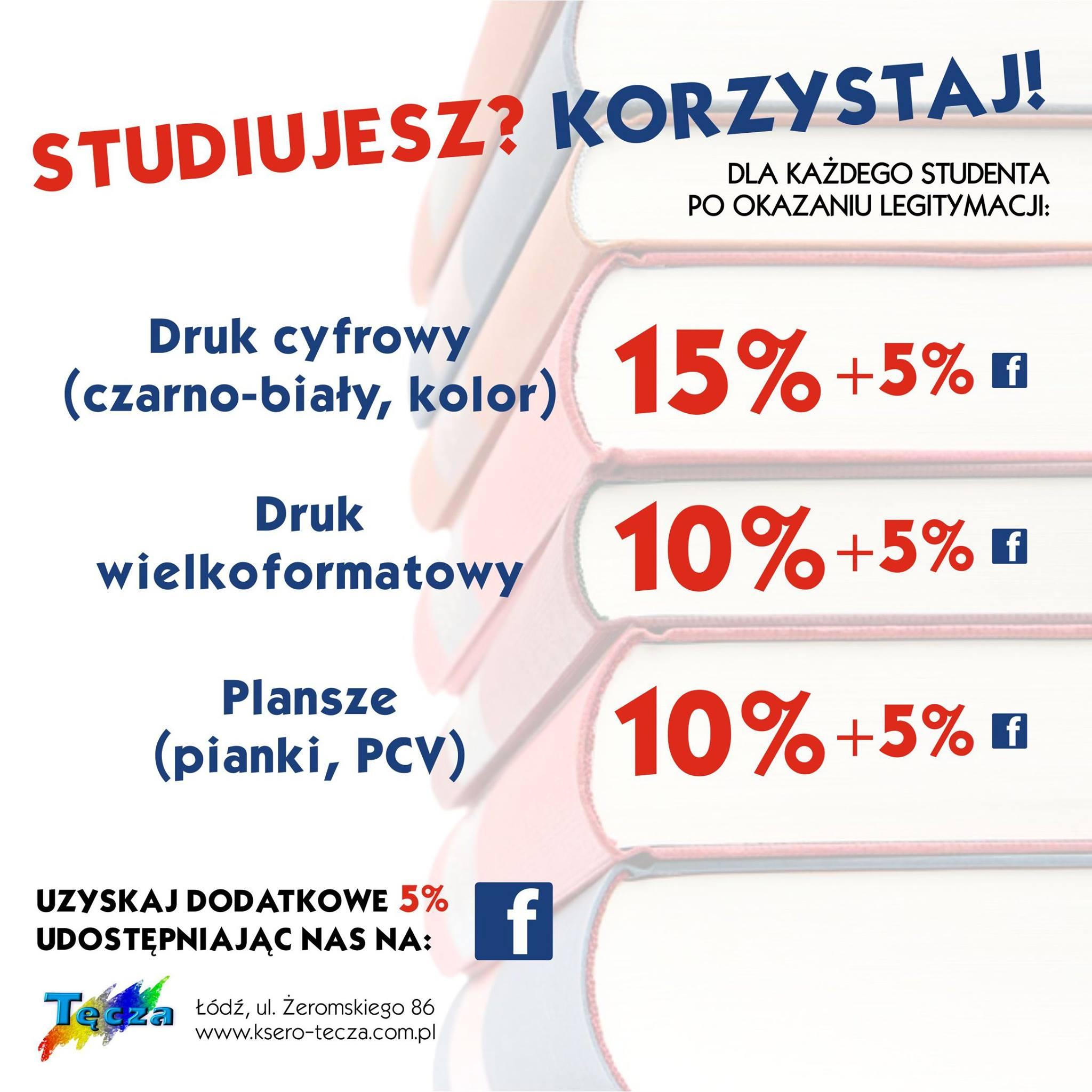 20% rabatu na wydruki laserowe w Ksero Tęcza w Łodzi dla studentów