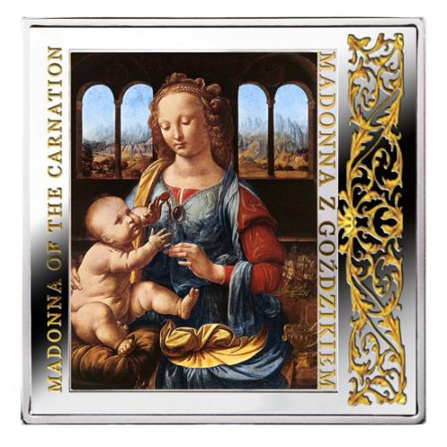 Srebrna moneta kolekcjonerska Madonna z goździkiem; 1 dolar, 28,28 g, @skarbiecmennicy