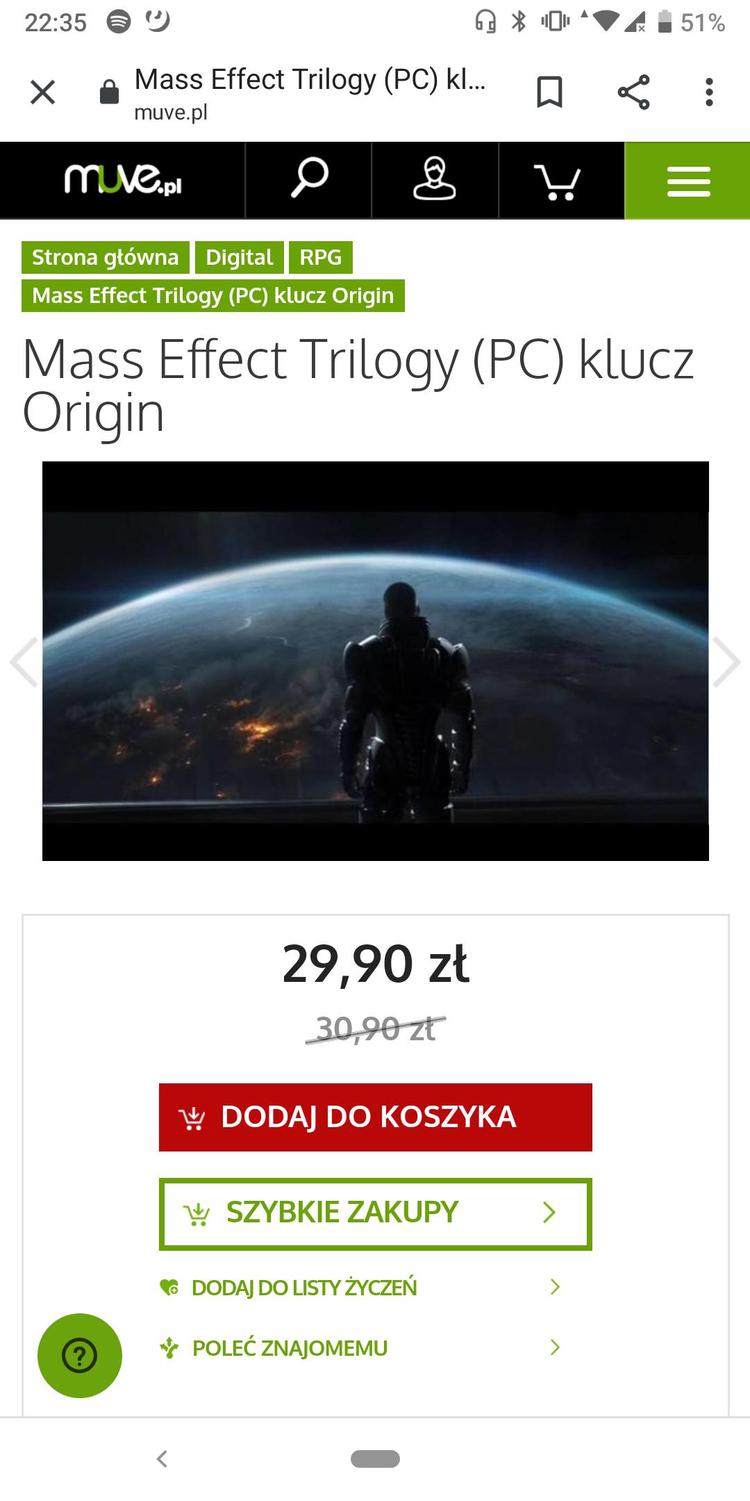Trylogia Mass Effect PC (klucz)