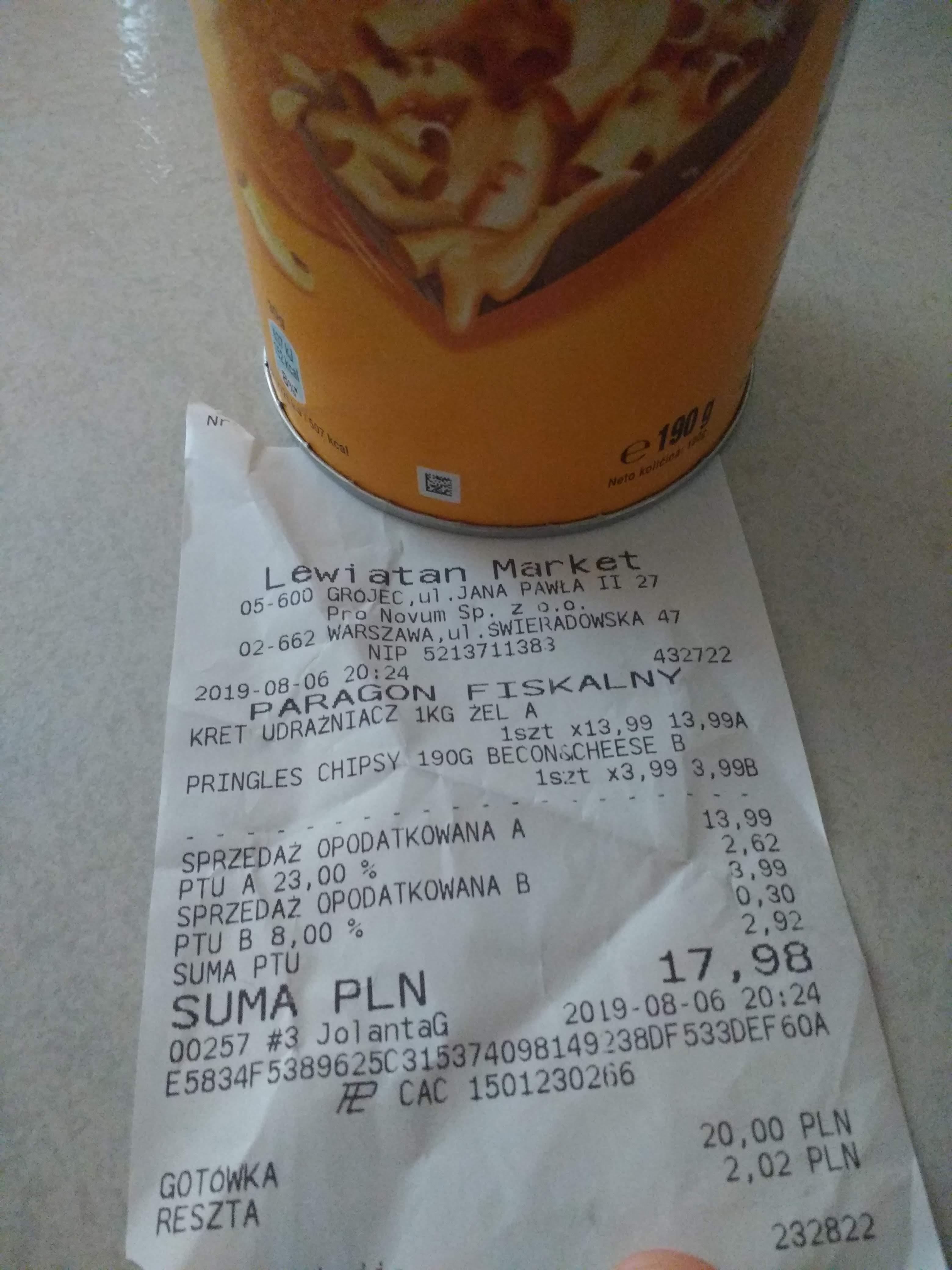Pringelsy za 3.99 lewiatan Grójec