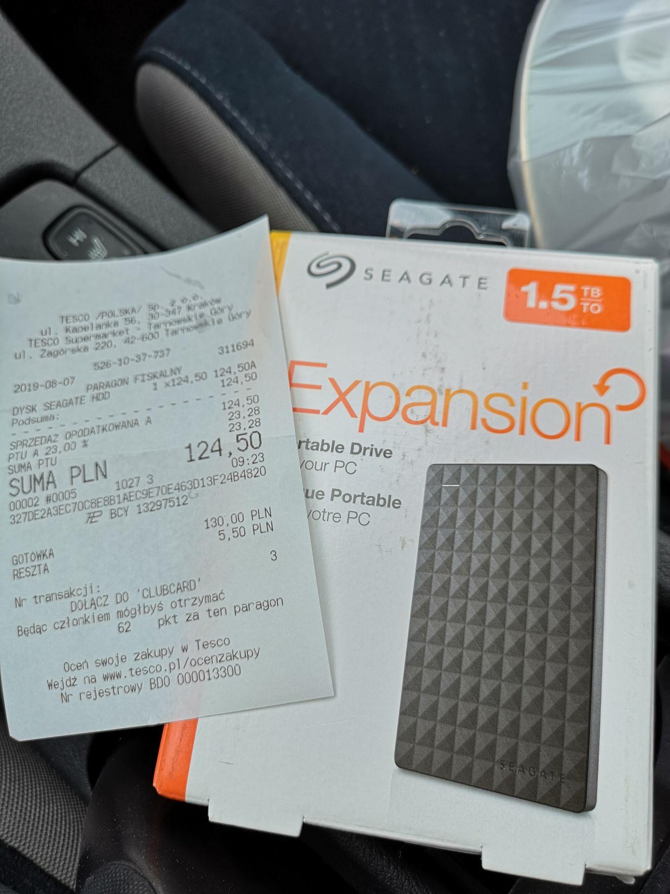 Seagate expansion 1.5 TB dysk zewnętrzny, 50% taniej TESCO