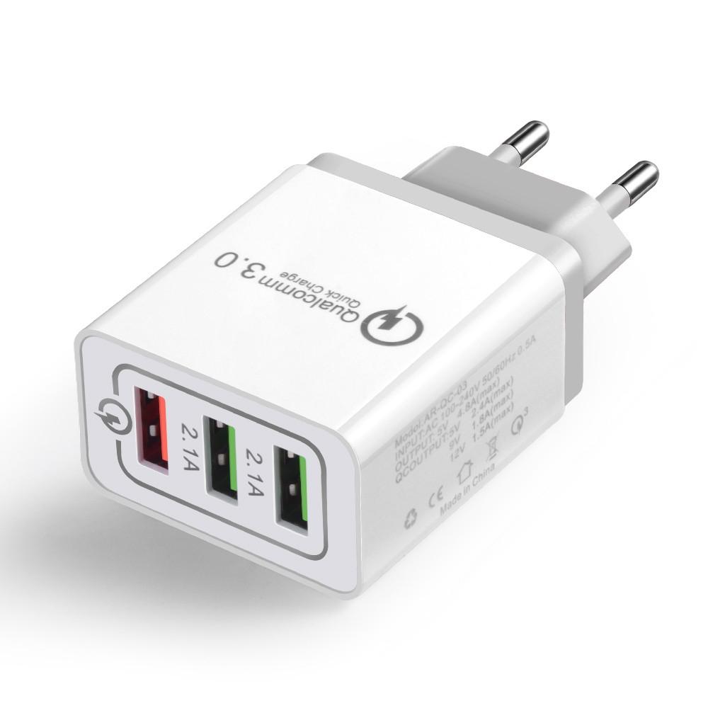 Potrójna ładowarka USB do gniazdka QC3