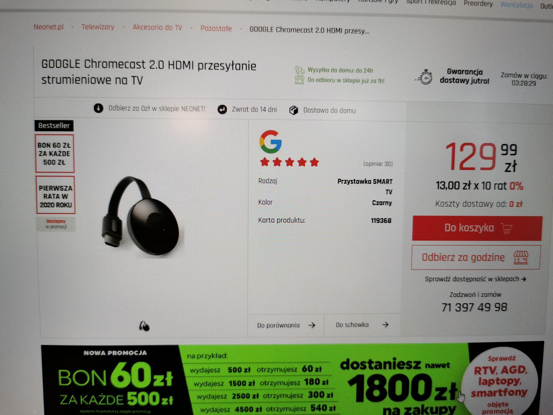 Google chromecast 2.0 Hdmi przesyłanie strumieniowe na tv netflix