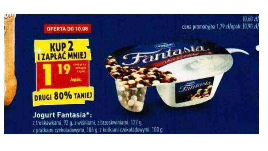 Jogurt Fantasia. Cena przy zakupie 2 sztuk. Biedronka