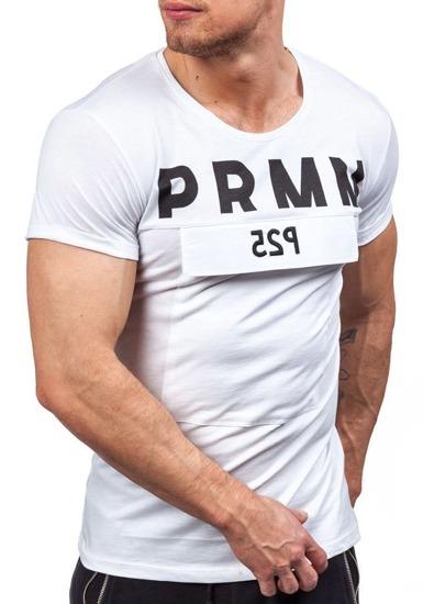 T-shirt męski z nadrukiem biały Denley 9023
