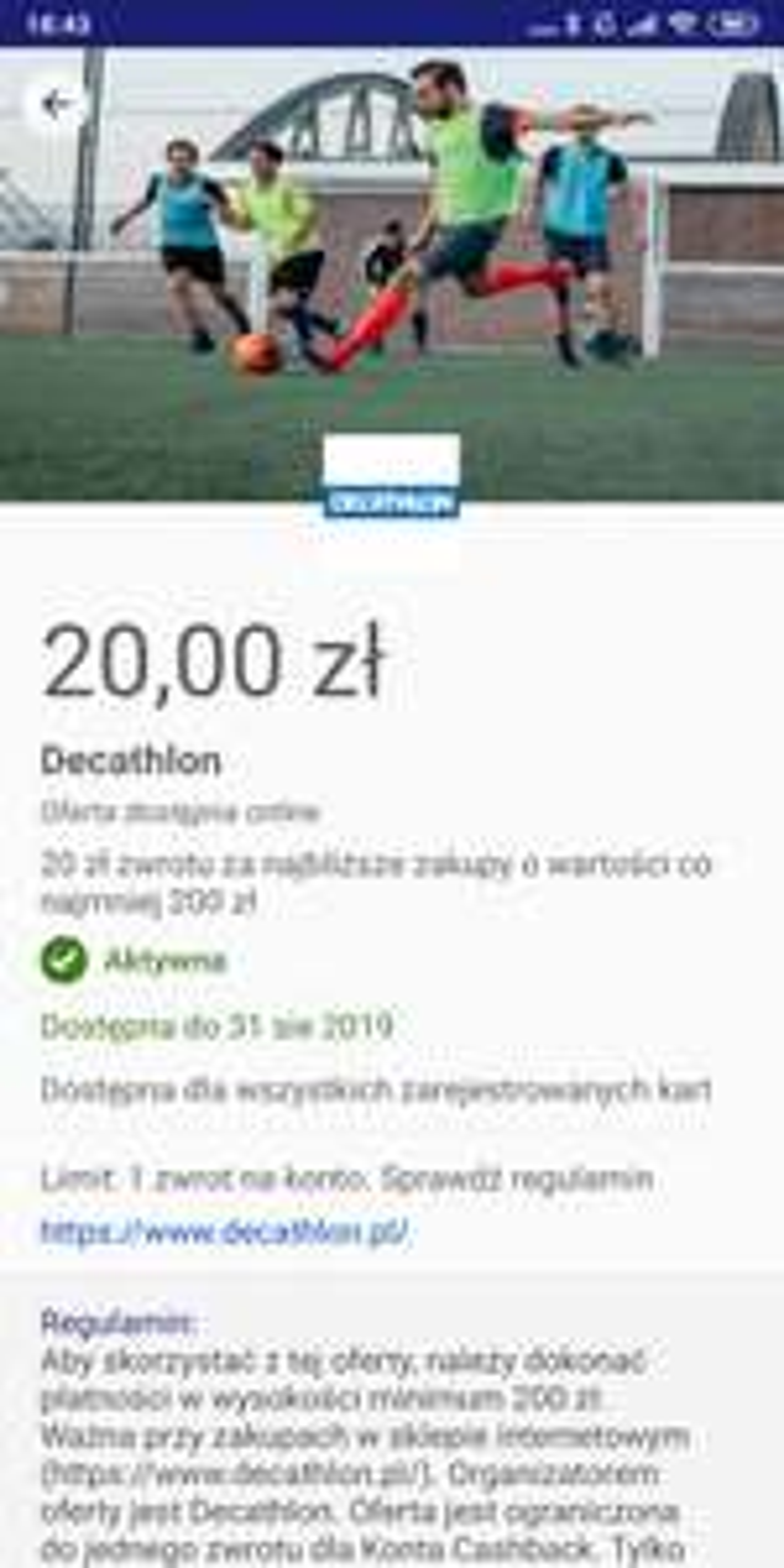 Visa oferty zwrot 20zl przy zakupie > 200zl w Decathlon online