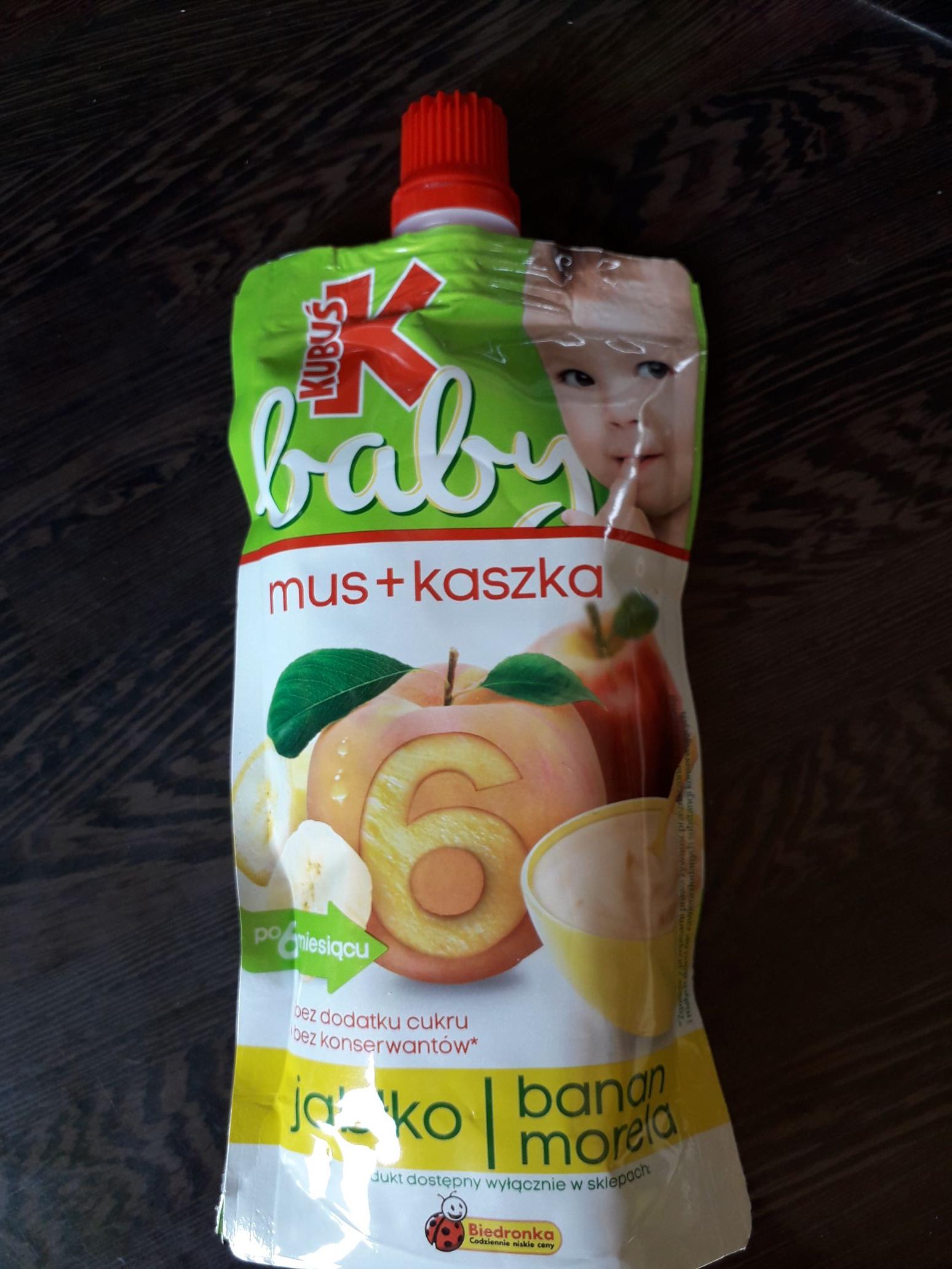 Mus + kaszka Kubuś (jabłko, banan, morela) @ Biedronka
