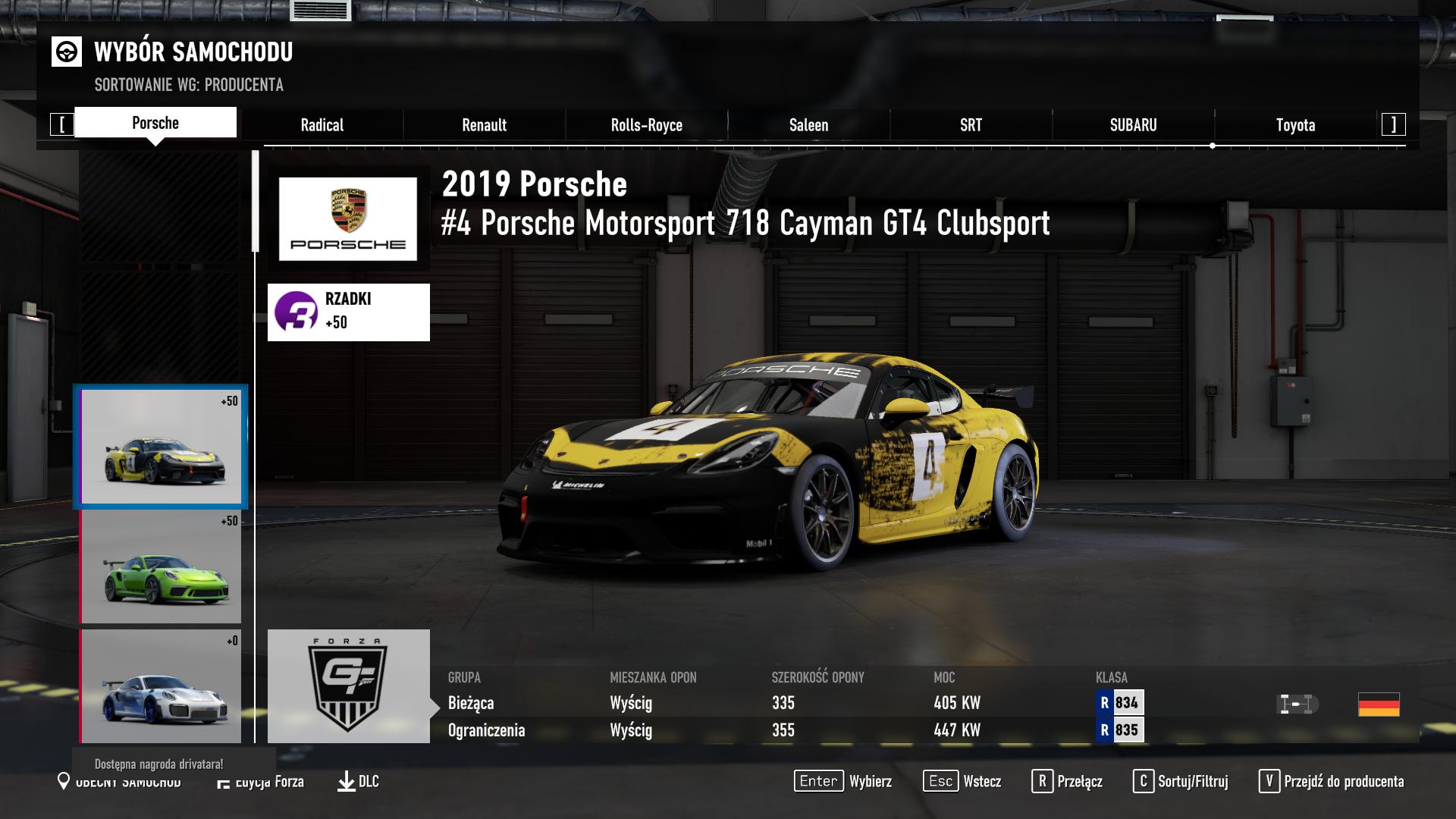 Forza Motorsport 7 - Porsche Motorsport 718 Cayman GT4 Clubsport - auto za darmo!