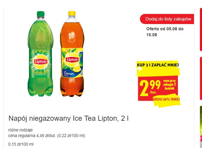 Lipton Ice Tea 2L minimum 2 szt. - Biedronka