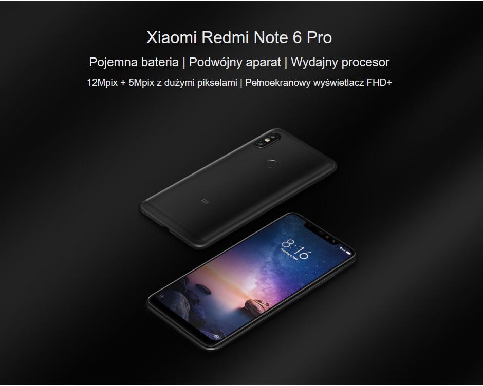 Smartfon Xiaomi Redmi Note 6 Pro 3/32GB czarny.