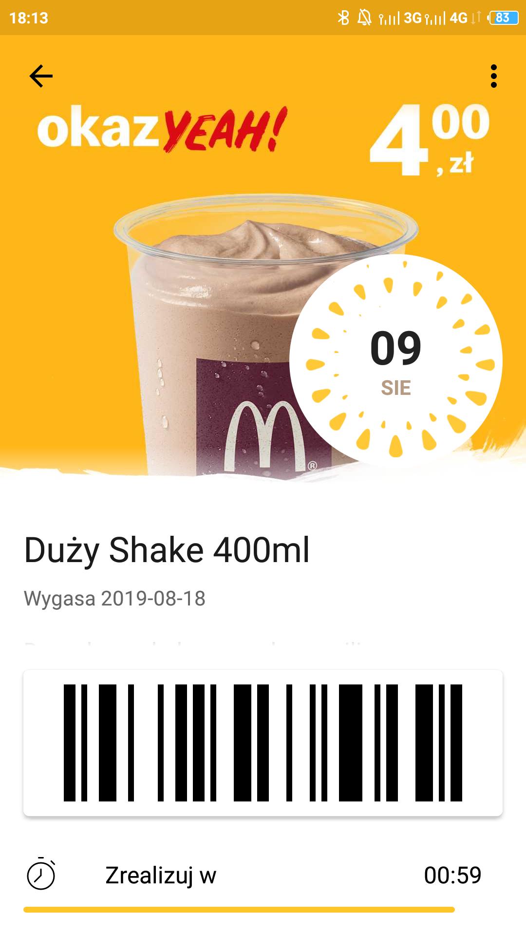 Duży shake w McDonald za 4zł!