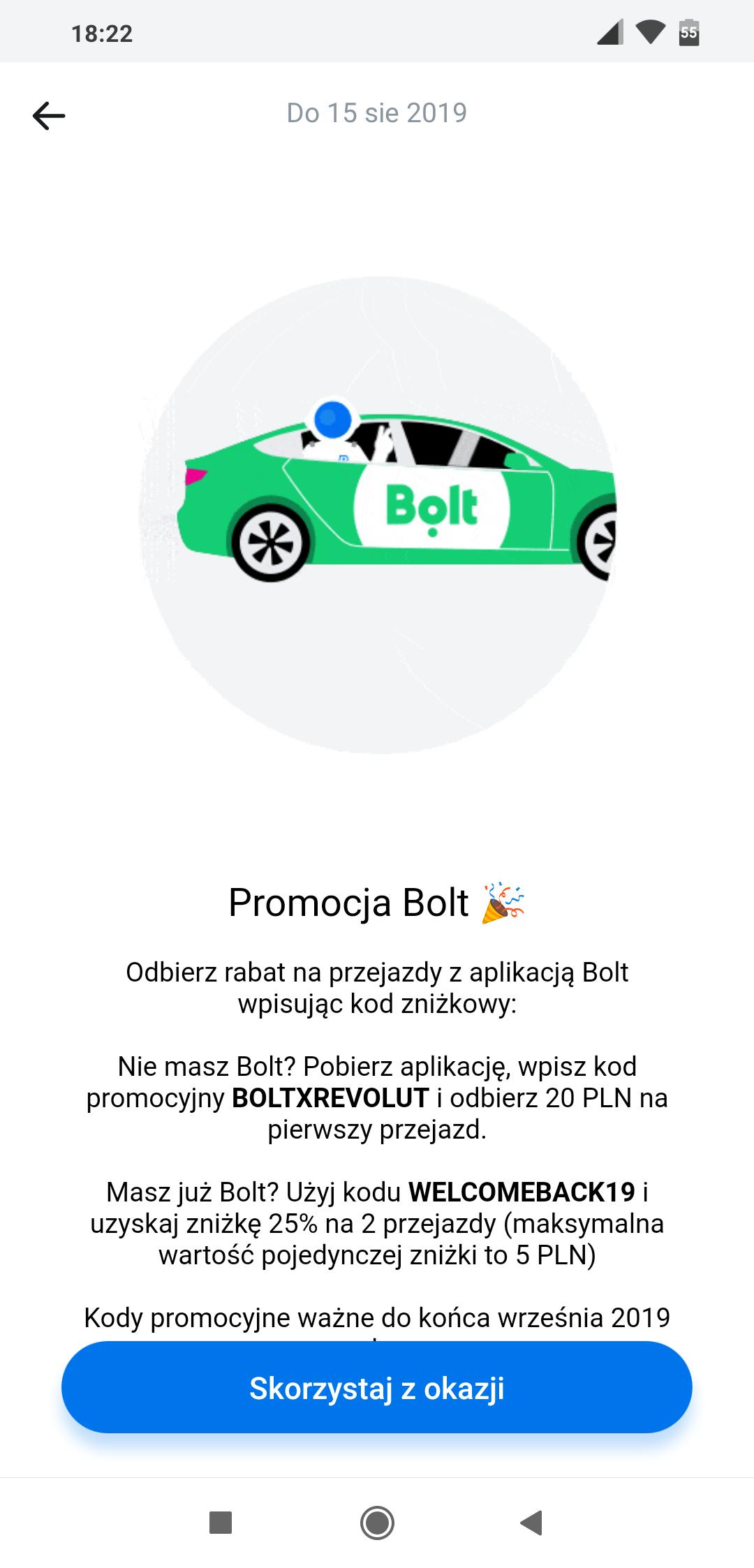 Bolt 25% (max 5zł) lub 20zł dla nowych