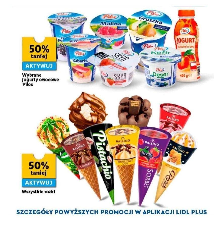Wszystkie rożki i wybrane jogurty owocowe taniej o 50%. Lidl Plus