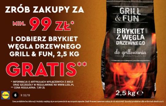 Brykiet węgla drzewnego Grill&Fun Gratis przy zakupie za 99 zł (MWZ 99) @Lidl