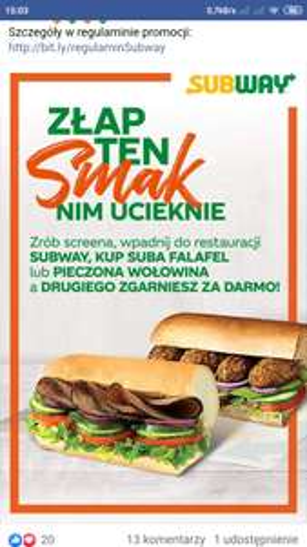 Subway 2 kanapki w cenie jednej- falafel lub pieczona wołowina