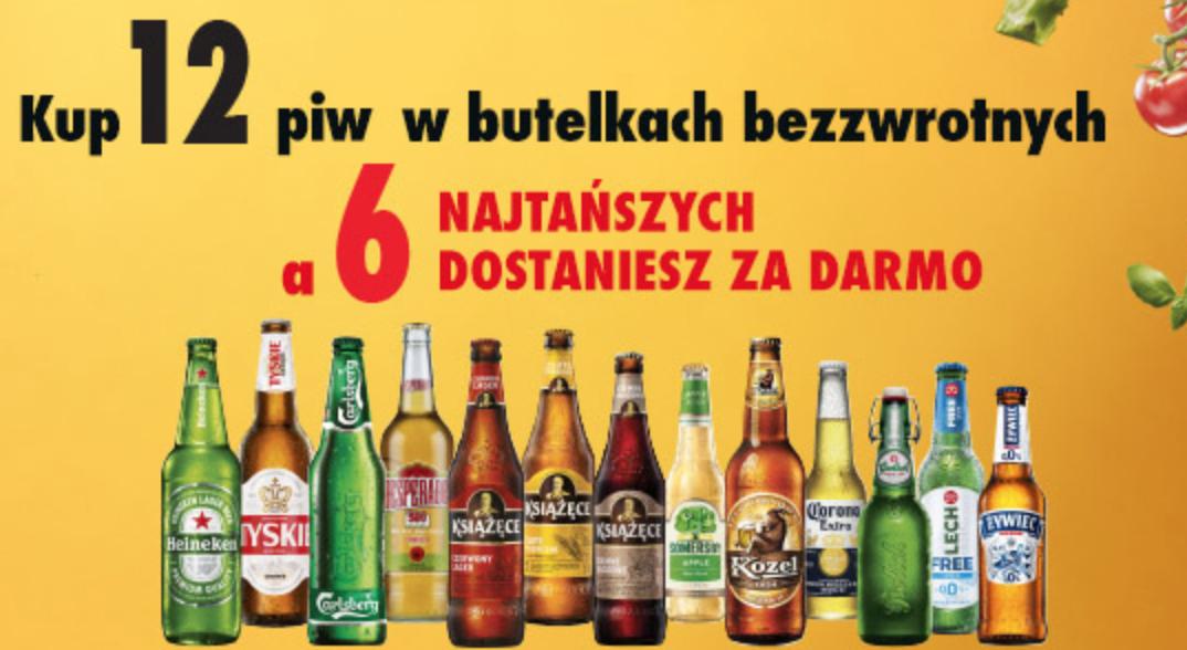 Kup 12 dowolnych piw w but. bezwrotnych a 6 najtańszych dostaniesz za darmo. Biedronka
