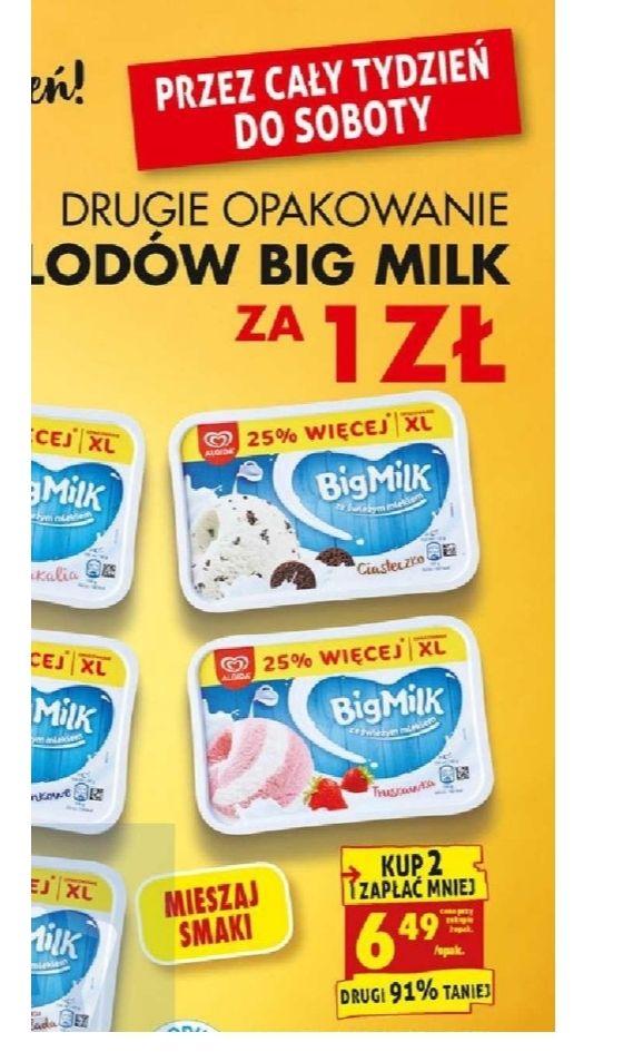 Drugie opakowanie lodów Big Milk za 1zl. Cena za sztukę 6.49. Biedronka