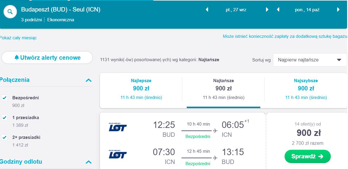 Bezpośredni lot do Seulu z Budapesztu (LOT)