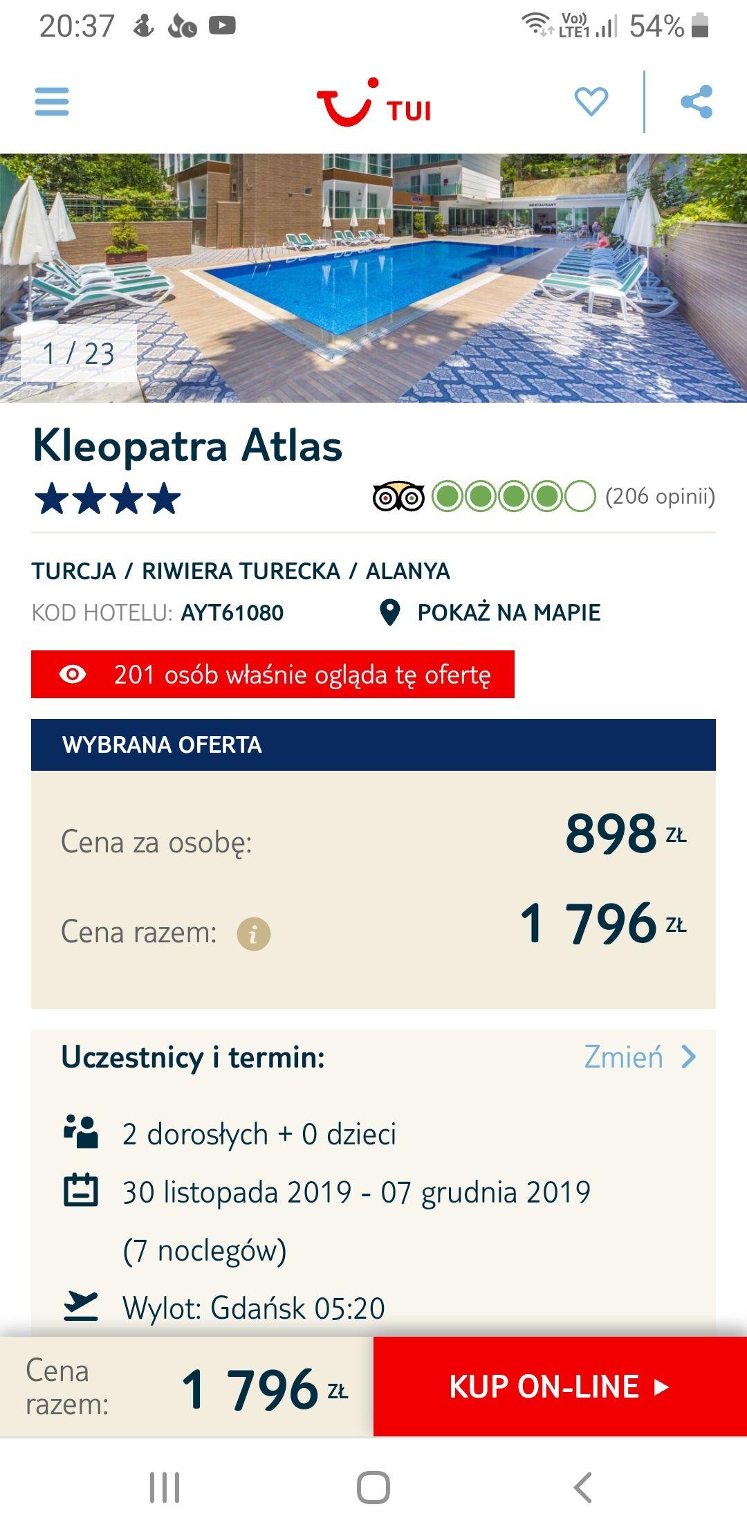 All inclusive w Turcji w 4* hotelu blisko plaży od 898 PLN. Wylot z 5 miast. 7 noclegów. 30.11 do 7.12