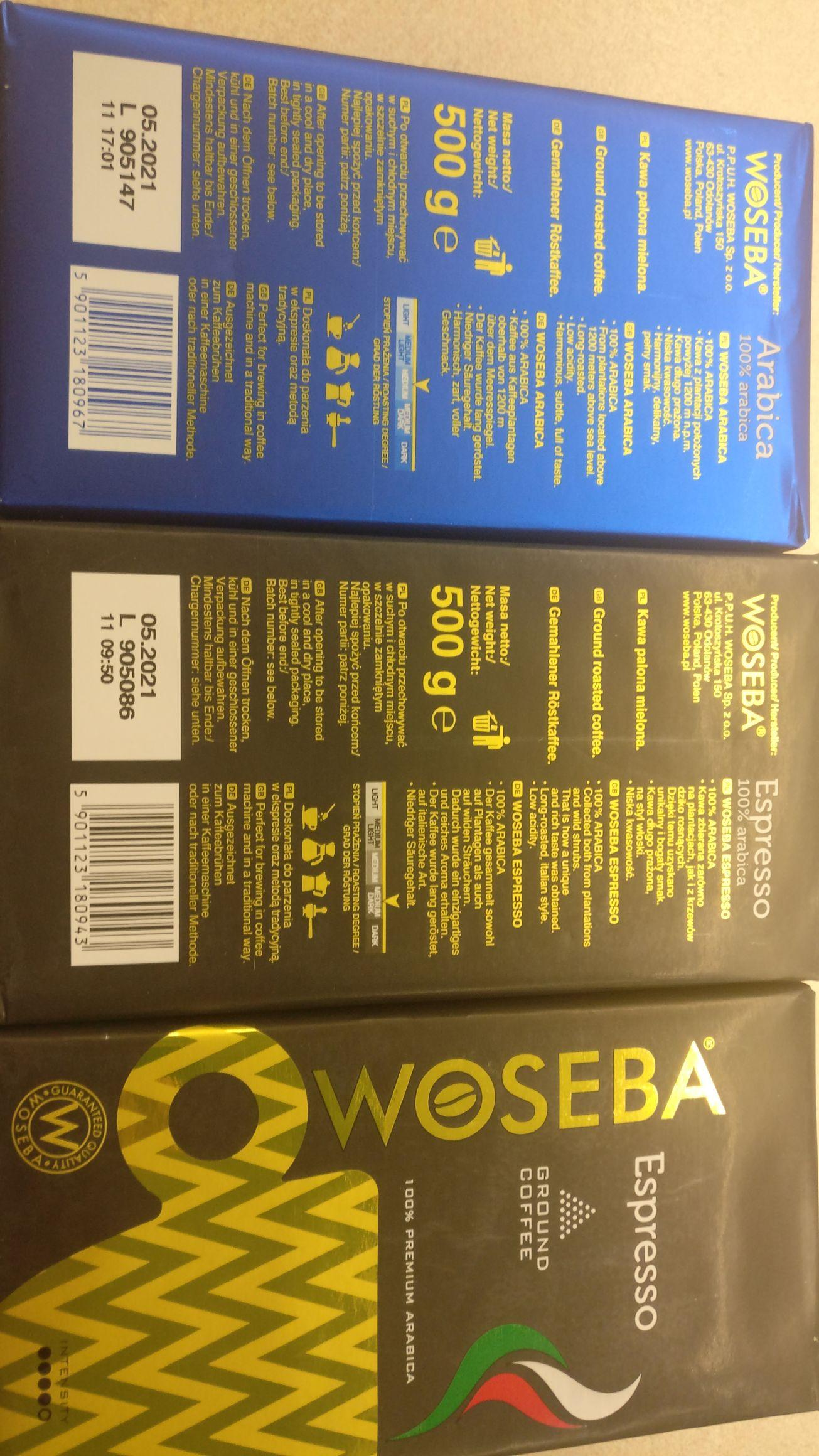 Woseba Espresso, Arabica, Brazil 500g mielona. @leclerc Warszawa Jutrzenki