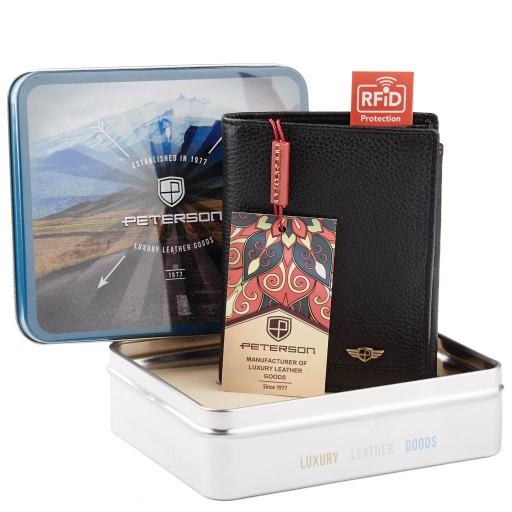 Skórzany portfel Peterson Slim RFID block