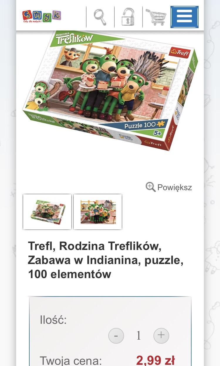 Trefl, Rodzina Treflików, Zabawa w Indianina, puzzle, 100 elementów