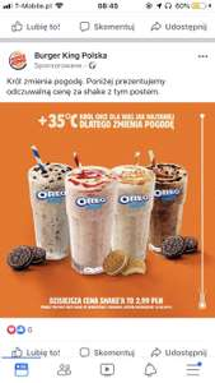 Oreo Shakes za 2,99 tylko dziś 14.08 Burger King