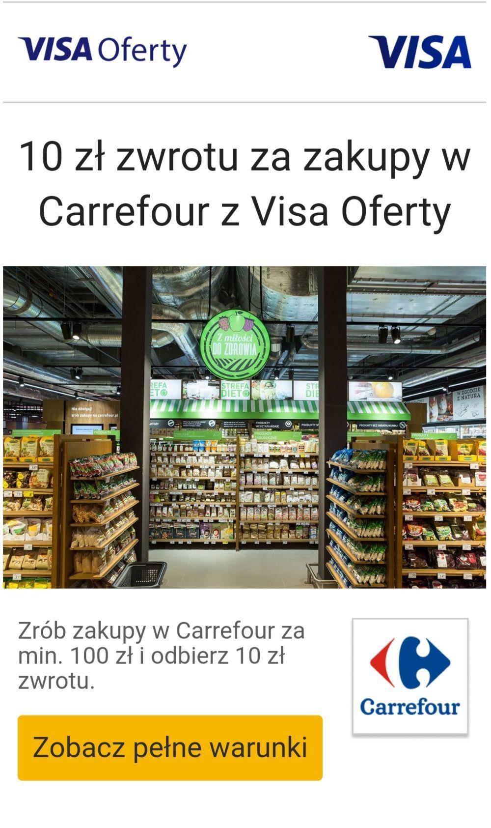 10 zł zwrotu za zakupy w Carrefour z Visa Oferty
