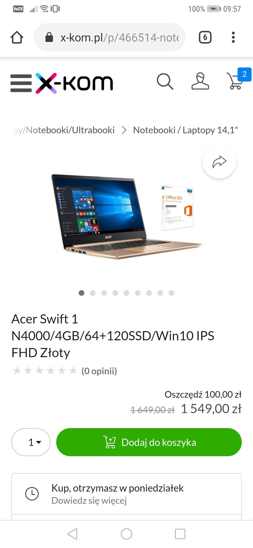 Acer Swift 1 maszyna do pisania o 100 zł taniej z Office w prezencie.