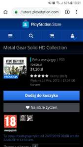 Metal Gear Solid HD Collection na PS3 w PS Store