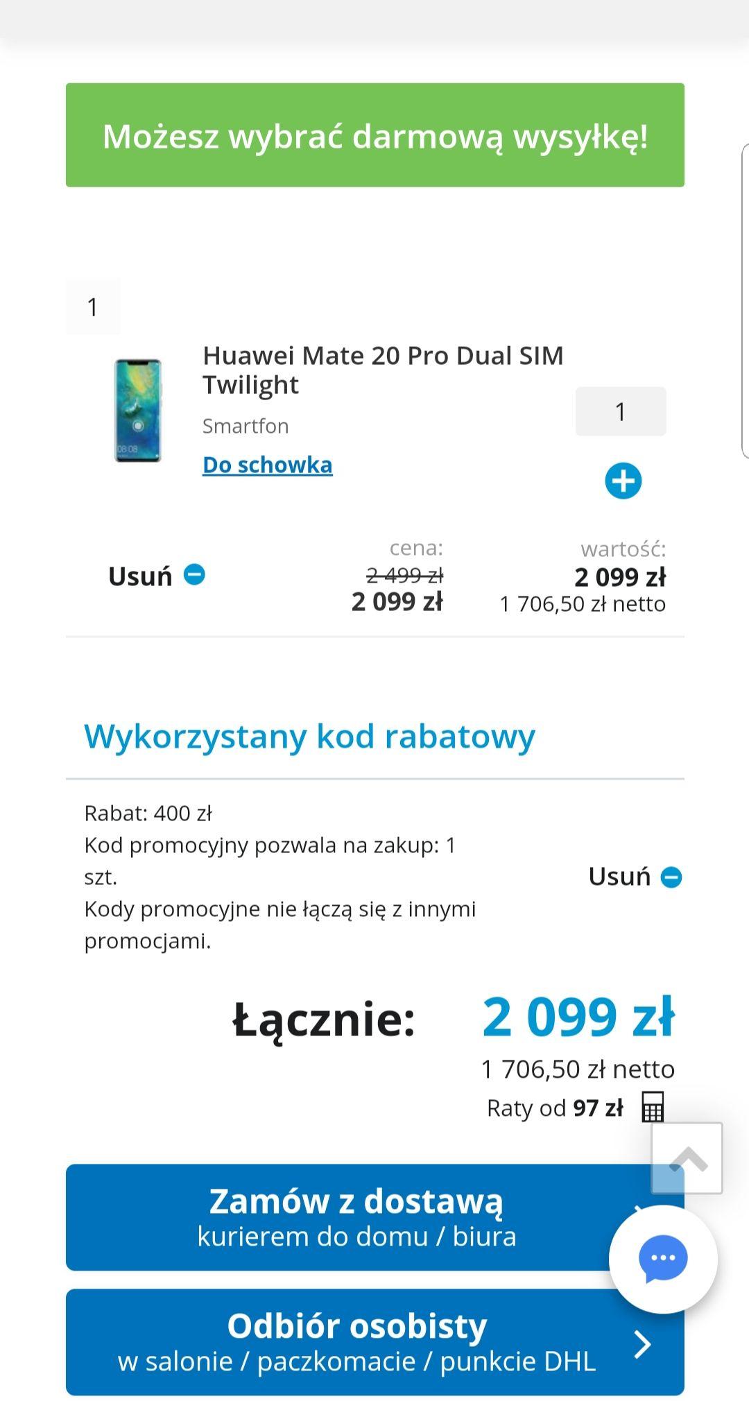 Huawei Mate 20 Pro twiglight za 2099zł i 400zł na karcie podarunkowej Komputronik