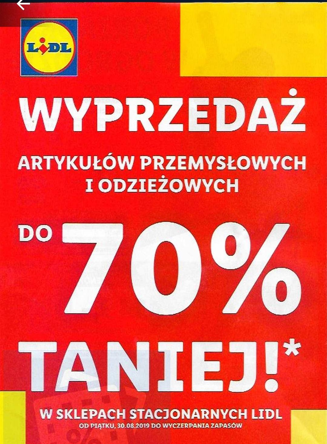 Wyprzedaż art. przemysłowych i odzieżowych do -70% od 30.08.2019 w sklepach stacjonarnych Lidl.