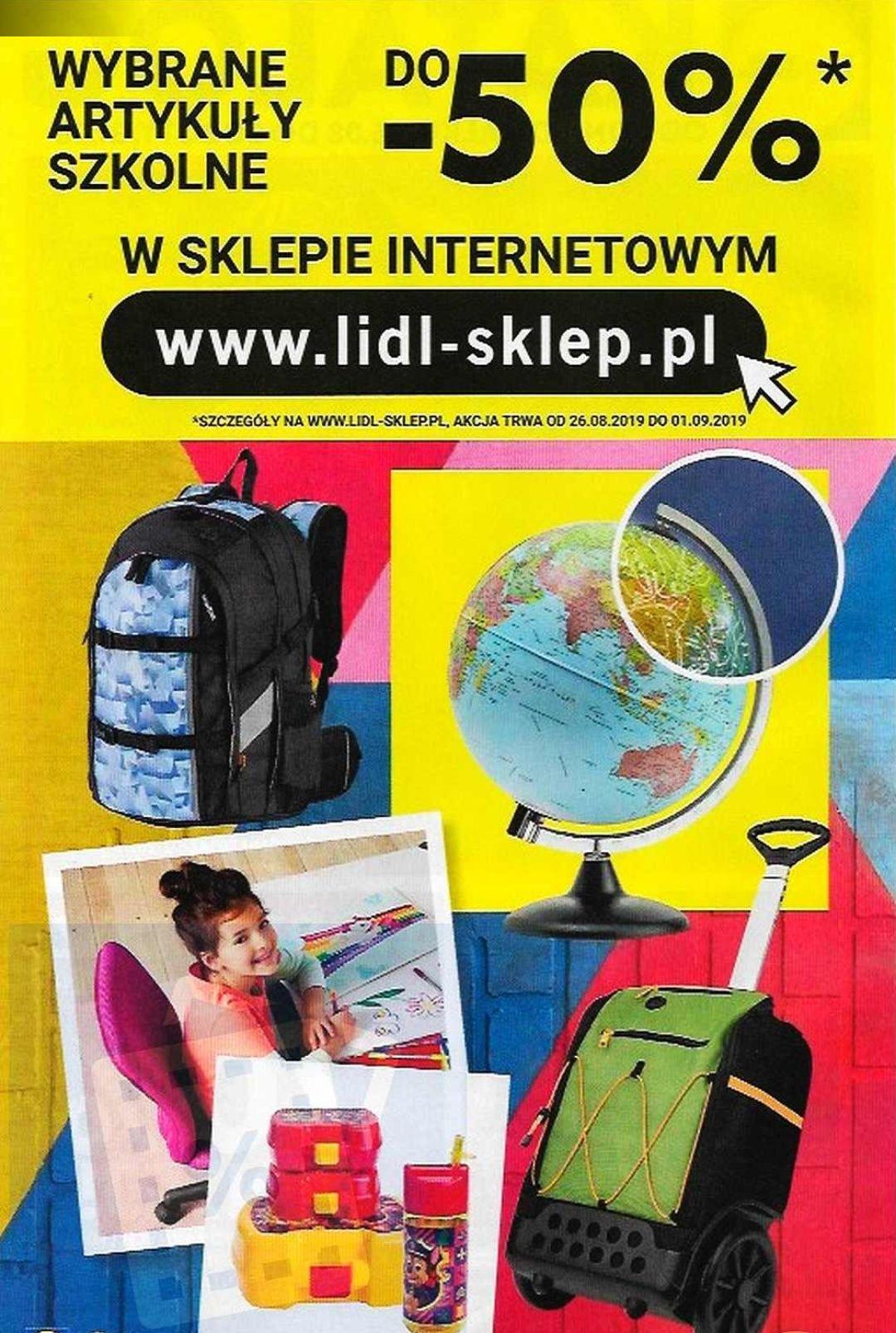 Od 26.08.2019 wyprzedaż do -50% na wybrane art. szkolne w sklepie internetowym Lidl.