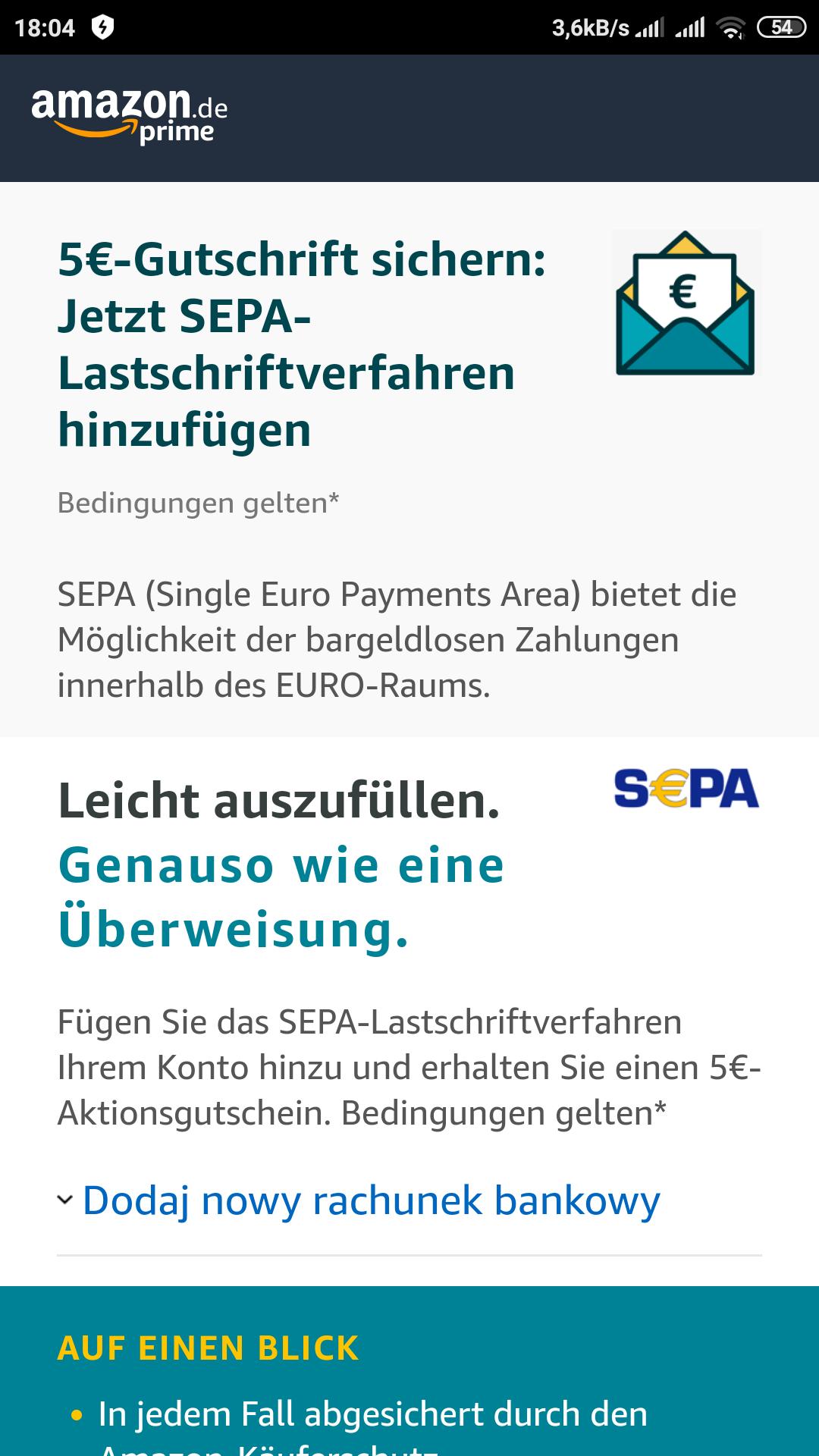 5€ za dodanie numeru rachunku w Amazon. MWZ 25€