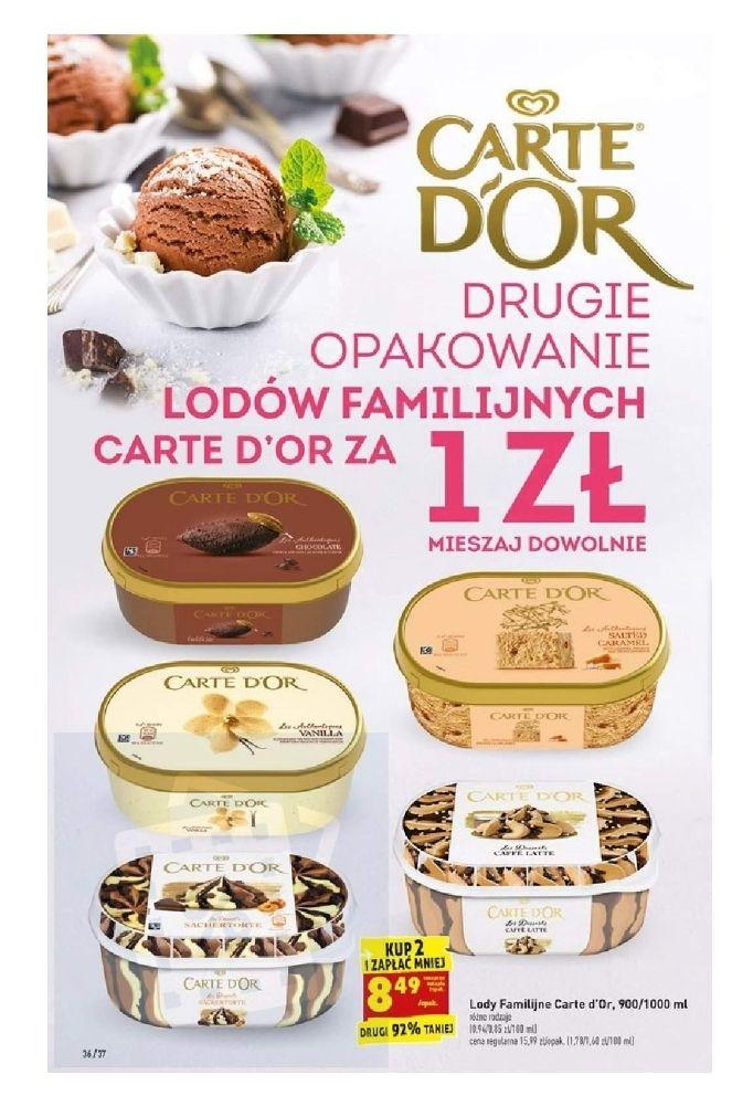 Drugie opakowanie lodów Carte D'or za 1 zł. Cena za sztukę. Biedronka
